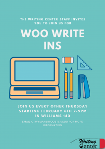 writing support every other thursday from 7 to 9pm.